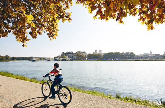 Radfahren über die Ile de la Barthelasse